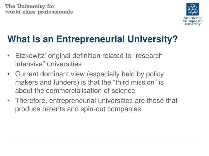 What is an Entrepreneurial University?