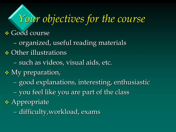 Your objectives for the course