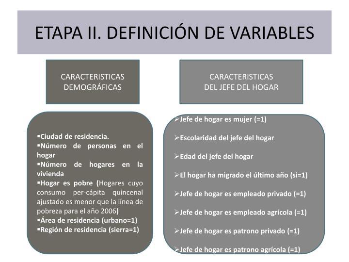 ETAPA II. DEFINICIÓN DE VARIABLES