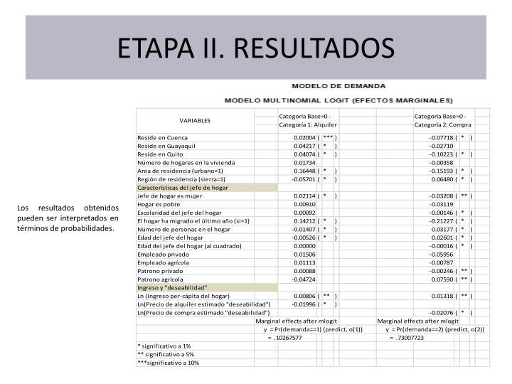 ETAPA II. RESULTADOS