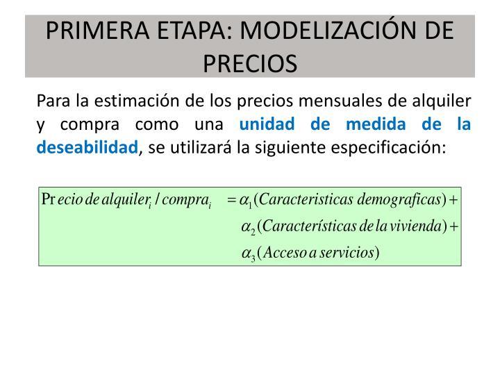 PRIMERA ETAPA: MODELIZACIÓN DE PRECIOS