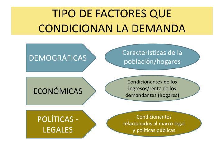TIPO DE FACTORES QUE CONDICIONAN LA DEMANDA