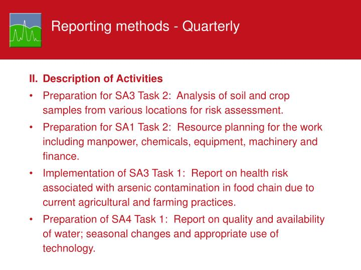 Reporting methods - Quarterly