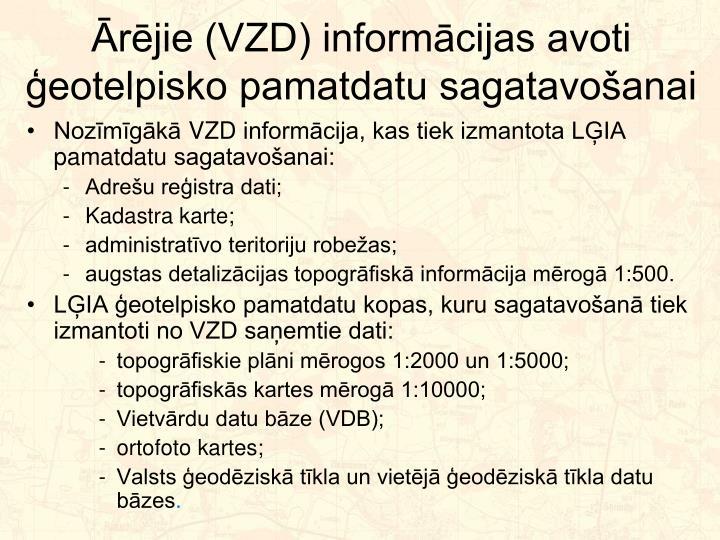 Ārējie (VZD) informācijas avoti ģeotelpisko pamatdatu sagatavošanai