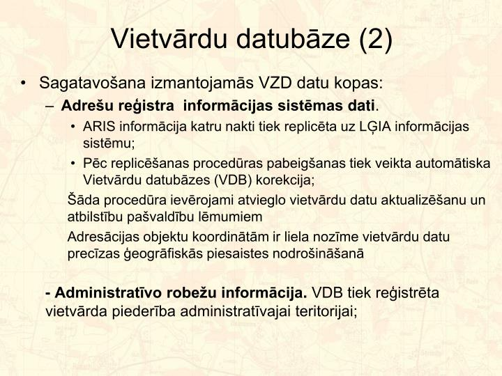 Vietvārdu datubāze (2)