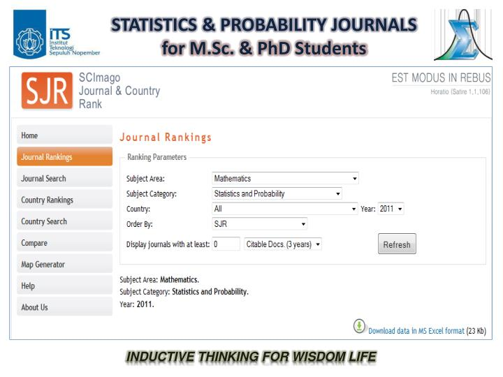 Statistics probability journals for m sc phd students