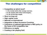 the challenges for competition