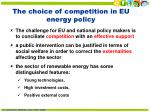 the choice of competition in eu energy policy