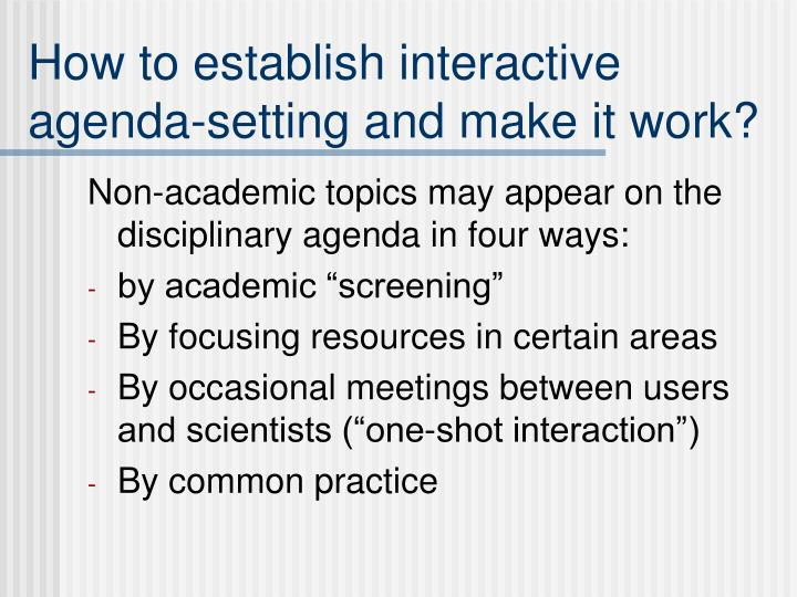 How to establish interactive agenda-setting and make it work?