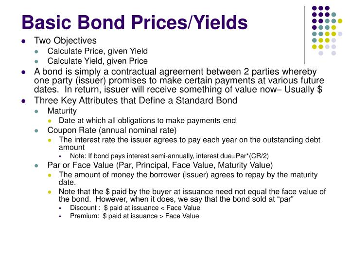Basic Bond Prices/Yields