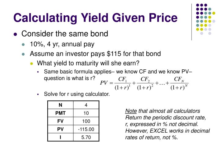 Calculating Yield Given Price