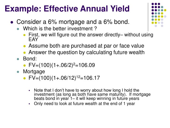 Example: Effective Annual Yield