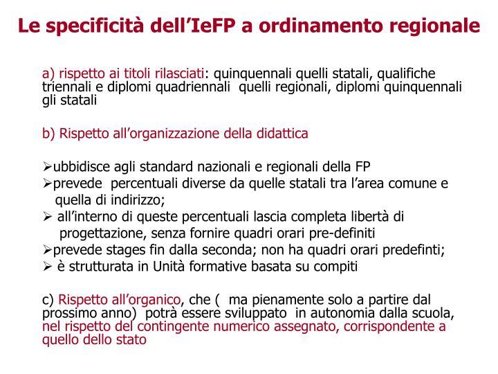 Le specificità dell'IeFP a ordinamento regionale