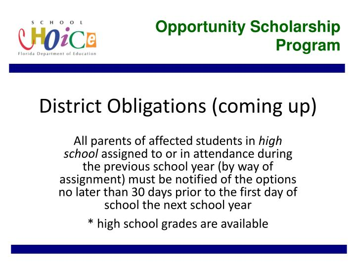 Opportunity Scholarship Program
