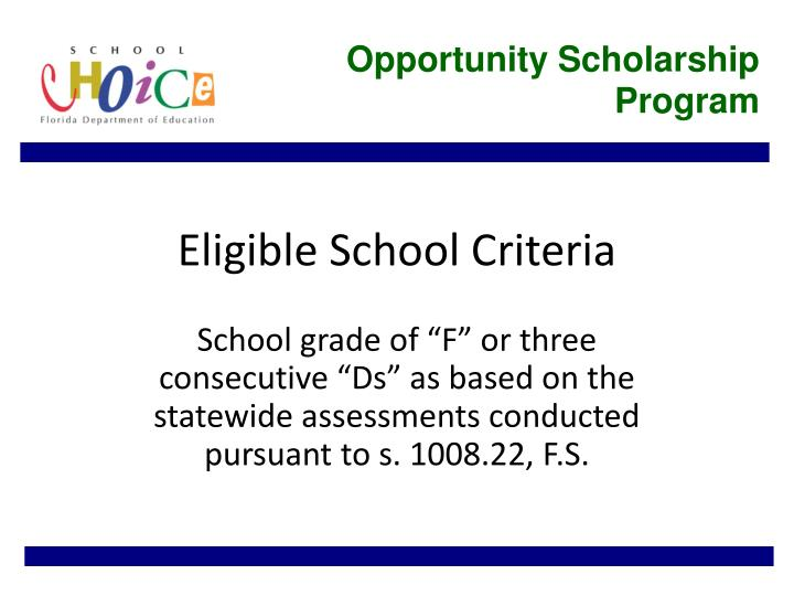 Eligible school criteria