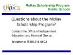 questions about the mckay scholarship program