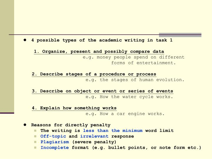 4 possible types of the academic writing in task 1