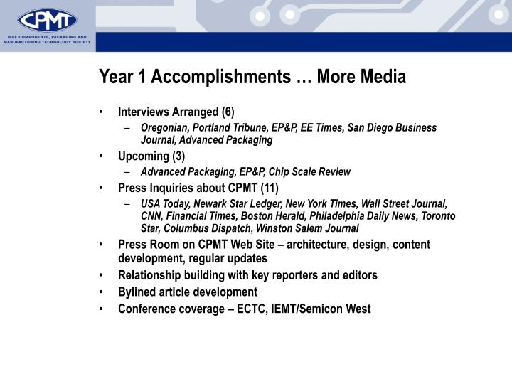 Year 1 Accomplishments … More Media