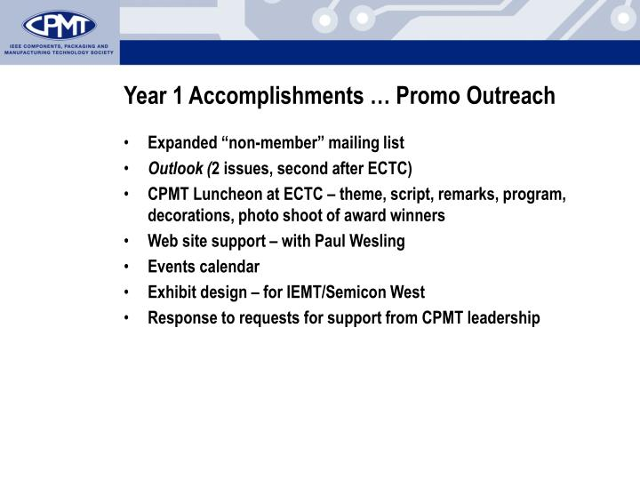 Year 1 Accomplishments … Promo Outreach