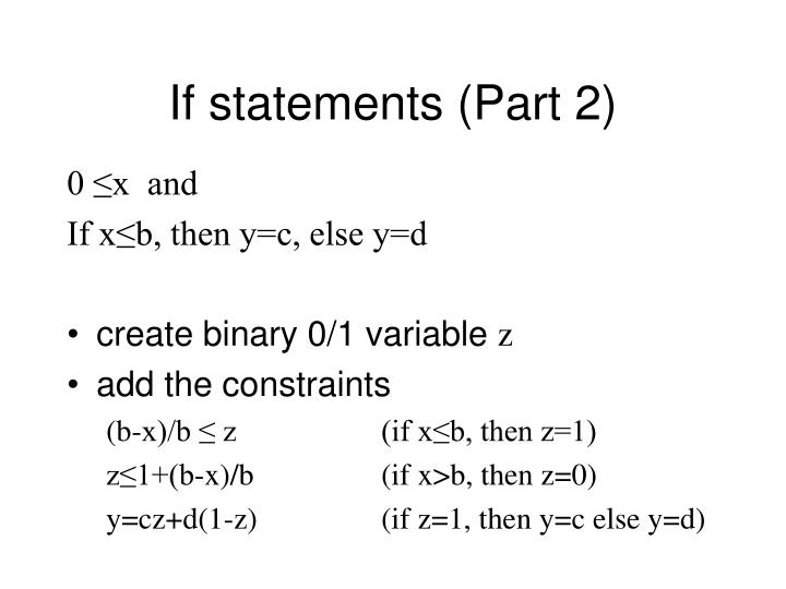 If statements (Part 2)
