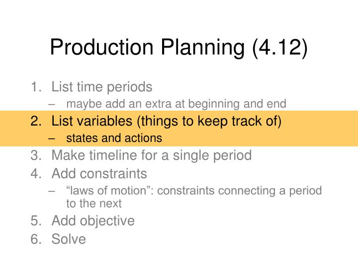 Production Planning (4.12)