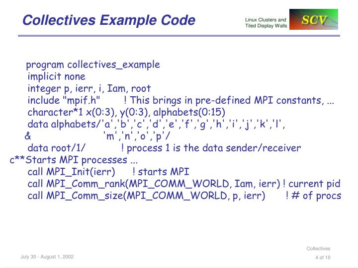 Collectives Example Code