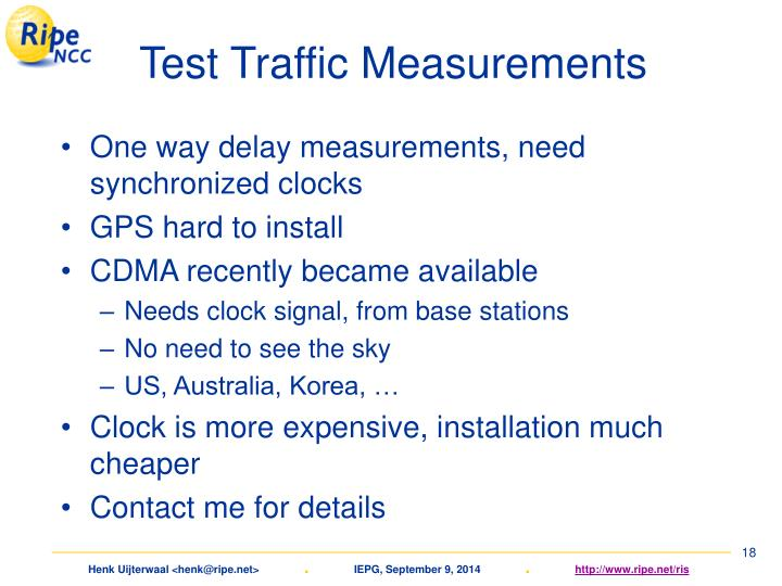 Test Traffic Measurements
