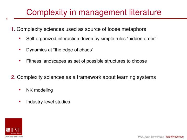 Complexity in management literature