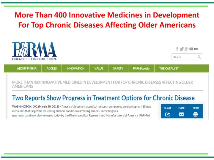 More Than 400 Innovative Medicines in Development For Top Chronic Diseases Affecting Older Americans