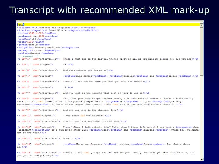 Transcript with recommended XML mark-up