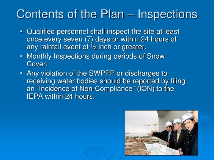 Contents of the Plan – Inspections