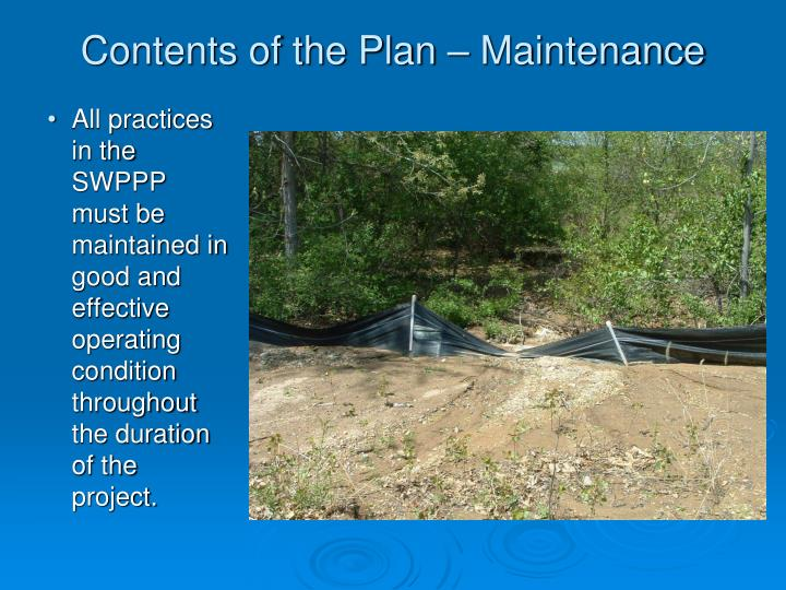 Contents of the Plan – Maintenance