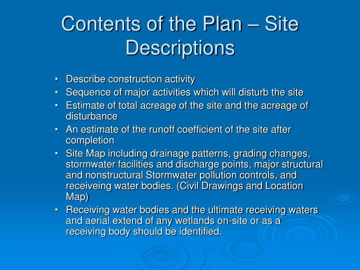 Contents of the Plan – Site Descriptions