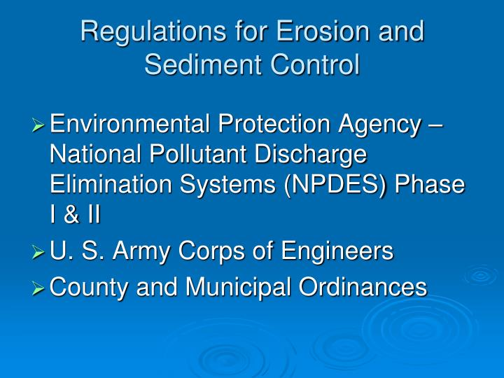 Regulations for erosion and sediment control
