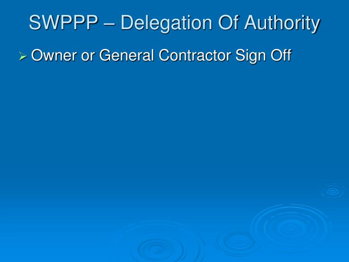 SWPPP – Delegation Of Authority