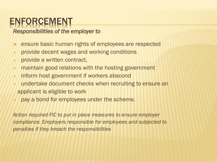 Responsibilities of the employer to