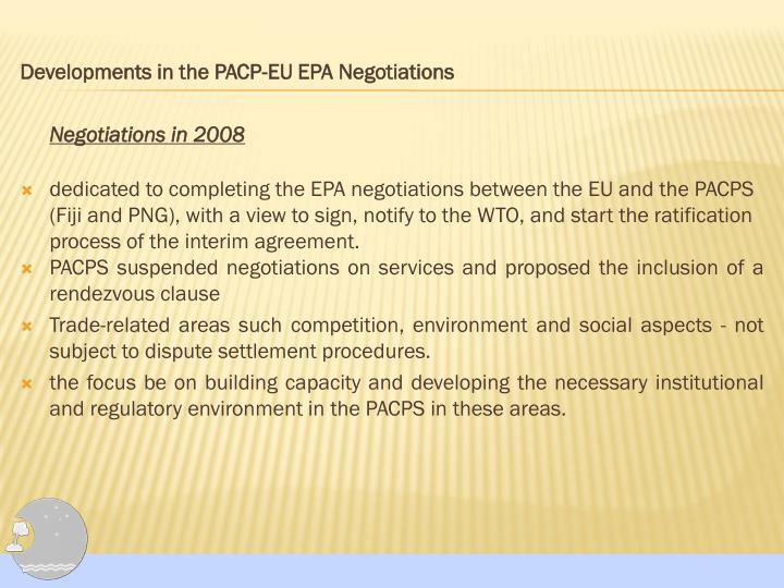 Developments in the PACP-EU EPA Negotiations