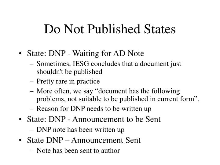 Do Not Published States