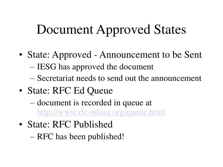 Document Approved States
