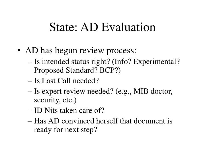 State: AD Evaluation
