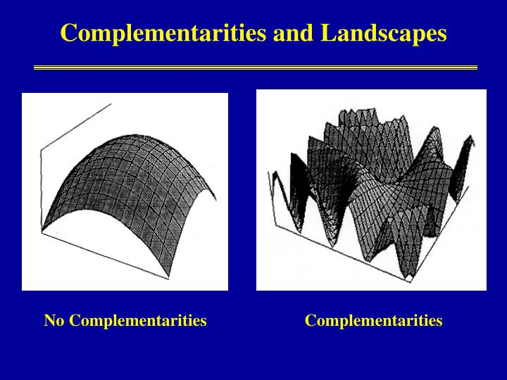 Complementarities and Landscapes
