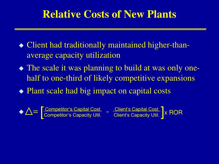 Relative Costs of New Plants