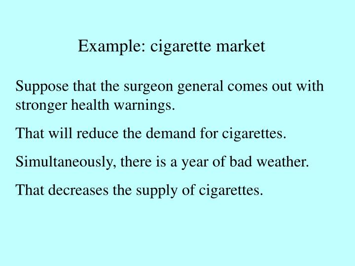Example: cigarette market