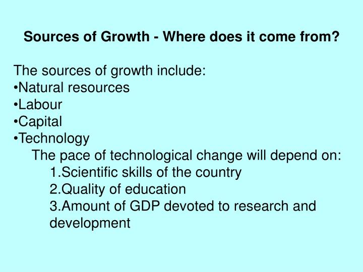 Sources of Growth - Where does it come from?