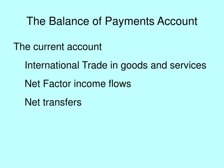 The Balance of Payments Account