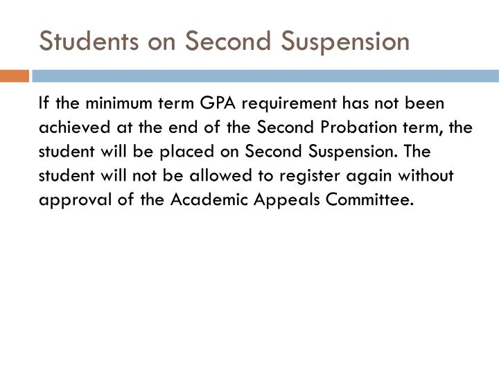 Students on Second Suspension