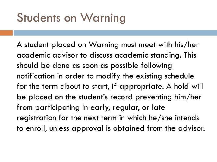 Students on Warning
