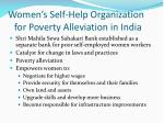 women s self help organization for poverty alleviation in india