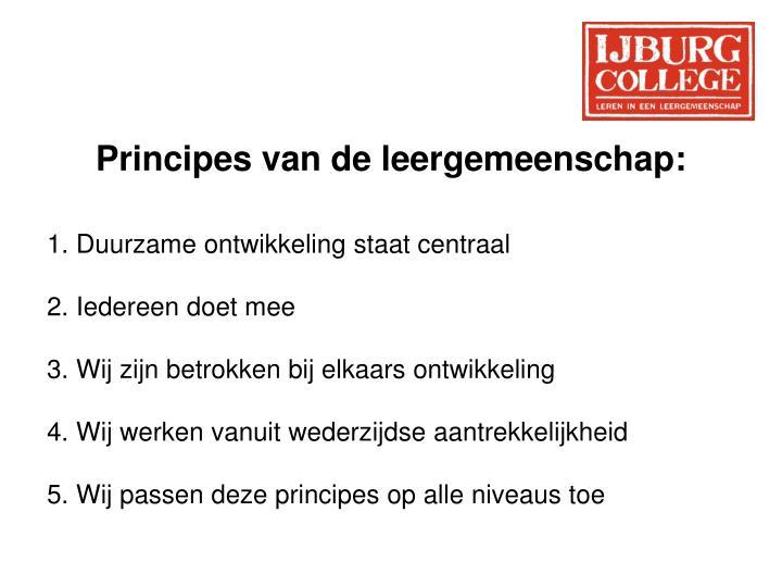 Principes van de leergemeenschap: