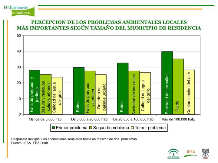 PERCEPCIÓN DE LOS PROBLEMAS AMBIENTALES LOCALES